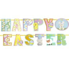 Colourful Paper Happy Easter Bunny Letters Decoration Hanging Garland Bunting 2m