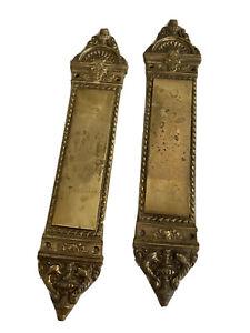 Pair of 2 Vintage Brass Architectural Door Hardware Push Plate