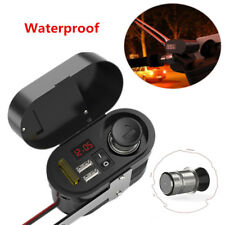 Motorcycle Handlebar Cigarette Lighter Dual USB Power Socket Charger Waterproof