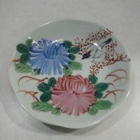 Fenton Hand Painted Ceramic Bird Floral Flower Plate Bowl Handmade in USA