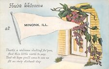 """Welcome Waiting for You"" in Minonk Illinois~Open Door~1918 Pennant Postcard"