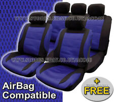 Black Blue Mesh Racing Look Airbag Compatible Car Front Rear Seat Covers Set