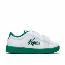 Infant Boys Lacoste Carnaby Evo Trainers In White Green- Hook And Loop