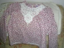 BNWT Girls  Top Long Sleeve Cream, Dark Red 7 yrs Ht 122 cm Lace Applique