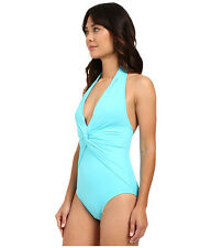 NWT Michael Kors Swimsuit 1 one piece  Sz 6 Deep-V Twist Maillot Turquoise