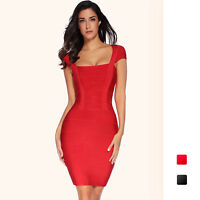 Meilun Women's Red Bandage Bodycon Short Sleeve Cocktail Party Bandage Dress