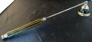 Vintage ZODAX Brown Grooved Wood and Silver Candle Snuffer