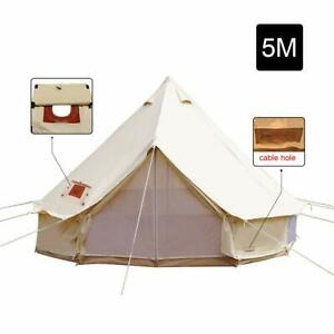 5M 4-Season Waterproof Bell Tent Cotton Canvas Camping Party Glamping Yurts Tent
