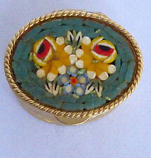 Aram Micro Mosaic Pill Box Floral Turq Green Etched Gold Oval Liner Italy Vtg