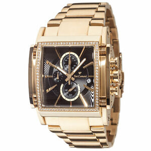 YVES CAMANI ESCAUT Mens Watch Chronograph Gold Plated Stainless Steel Black Dial