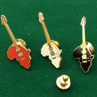 Pin's Folies ❤️3 French Vintage Enamel Tablo Music pins: ELECTRIC GUITARS AFRICA