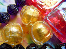 """Neue Crystal Gold Foil """"Baroque Piped"""" Murano-Perle- ca.12mm- Venetian Bead"""