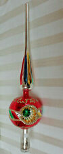 """Glass Christmas Tree Topper Triple Indent 13.5"""""""