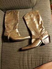 Nine West Brazil Distressed gold Leather Cowboy Boots Pheonix  Sz 8 M