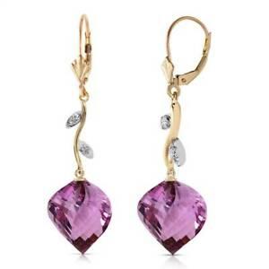 Amethyst & Diamond Earrings In 14K Yellow Gold (21.52 ct. tw