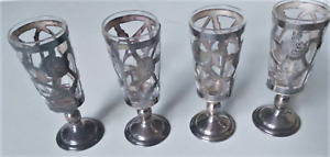 Vintage Sterling Silver MEXICO Patterned Cutout Cordial Glass Holders w Glasses