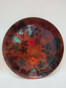 Michaella Multi-Color Floral Enamel on Copper Decorative Plate Made in Israel