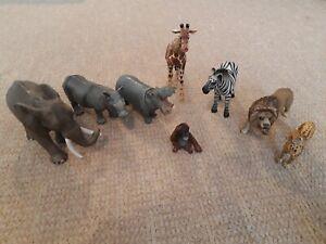 Job Lot Schleich Plastic African Animals - Elephant Zebra Lion Hippo etc