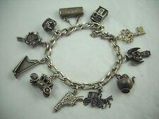 Vintage Ornate Scrolled Sterling Charm Bracelet