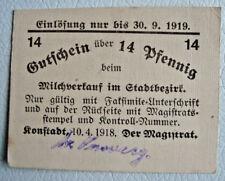 Notgeld Konstadt (Schlesien/Polen:Wołczyn) 14 Pfg. 1918 für Milchverkauf (1903)