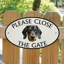 Dachshund Sign, Robust Outdoor Please Close The Gate Sign  Dachshund Dog Plaque
