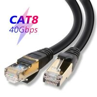 S/FTP Cat 8 7 Ethernet Gigabit LAN Network 2000Mhz RJ45 Patch Cable Lot , Black