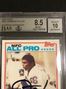 Autographed Lawrence Taylor RC 1982 Topps BAS 8.5 Auto 10 sub grade 3 9s better