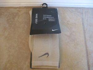 NWT Nike Golf Khaki Dri-Fit Tour Crew Mens Size 9-11