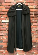 Antique Victorian 1920s Boggs & Buhl Brown Silk Cocoon Cape with Pleated Shaw