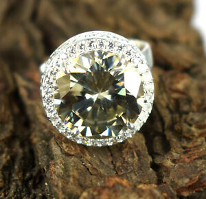 13.71 Ct Huge Size Champagne Diamond Solitaire Halo 925 Sterling Silver Ring