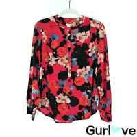 J.Crew Women's Top Size M Floral Long Sleeve Henley Blouse