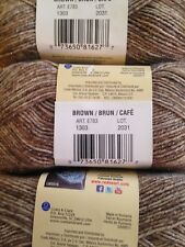Red Heart Stardust Yarn   Lot of 3  BROWN   #1 Super Fine   Washable Wool Blend