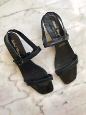 Robert Clergerie Black Patent Leather Kitten Heel Strappy Sandal Sz 7.5