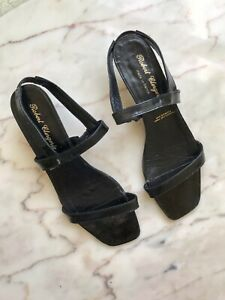 Robert Clergerie Black Patent Leather Kitten Heel Strappy Sandal Sz 7.5