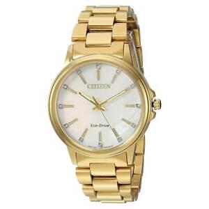 Citizen Women's Watch Chandler MOP Dial Yellow Gold Steel Bracelet FE7032-51D