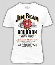 Official Jim Beam Bourbon Whisky Bottle Label Men Printed T-shirt Size S - 5XL