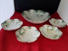 """Vtg R.S. Prussia Red Mark white floral Bowl 8 3/4""""d 2 1/2""""h  & 4 berry bowls 5"""""""