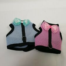 Guinea Pig Harness 2 Pack Blue Pink Soft Bow Accent Velcro Adjustable Ferret