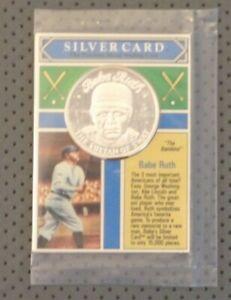 BABE RUTH NY YANKEES .999 FINE SILVER COIN 1992 MONEY COMPANY CARD ROUND 1/15000