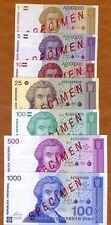 Specimen Set Croatia, 1-5-10-25-100-500-1000 Dinara, 1991, UNC