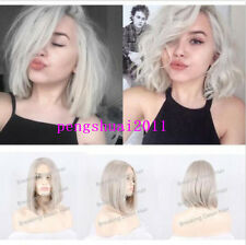 White Grey Lace Front Short Straight Wig Heat Resistant Sexy Synthetic Hair Wigs
