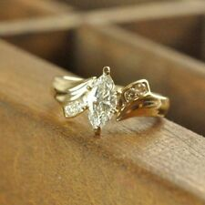 Engagement Ring 14K Yellow Gold Over 1.50 Ct Marquise Cut Diamond Solitaire