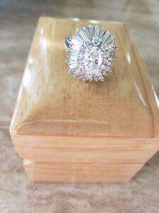 Platinum Oval Shaped Diamond Ballerina Ring Pendant Ring-dant
