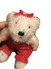 Vintage Plush Valentines Day Girl Heart Bear Red Clothing
