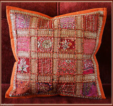 HAND CRAFTED ANTIQUE DRESS PATCH WORK PILLOW/CUSHION COVER FROM INDIA!!