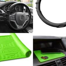 Silicone Steering wheel cover Grip Marks w/ Green Dash Mat Black for Auto