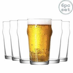 Noniq Beer Glasses - 570ml - 6 Ridged No Nick Classic Pint Glasses Pub Glasses