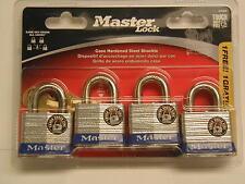 Master Lock - 4 Keyed Alike Padlocks - Case Hardened Steel Shackle