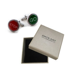 Mens Stop & Go Road Sign Cufflinks & Gift Box - Driving Instructor By Onyx Art