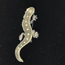 Pin Aurora Borealis Rhinestone J1B13 Silver Tone Gecko Lizard Brooch
